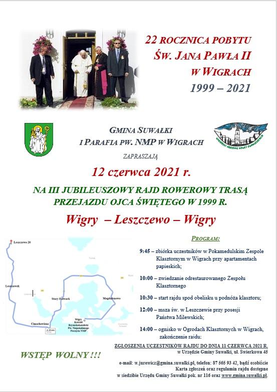 Rajd rowerowy z okazji 22 Rocznicy Pobytu Św. Jana Pawła II w Wigrach